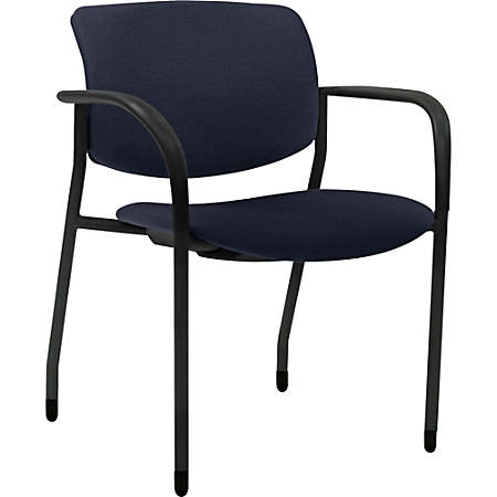 Lorell® Contemporary Fabric Stacking Chairs, Dark Blue/Black, Set Of 2
