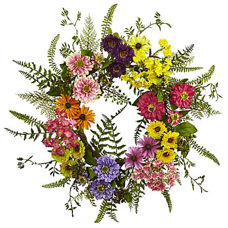 "Nearly Natural Polyester Mixed Flower Wreath, 22"", Multicolor"