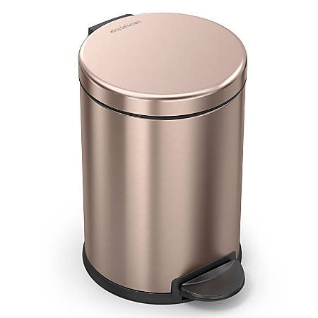 simplehuman Round Stainless Steel Step Trash Can, 1.2 Gallons, Rose Gold