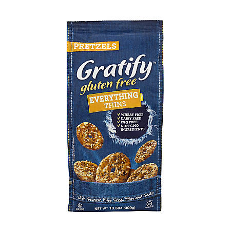 Gratify Gluten-Free Everything Pretzel Thins, 10.5 Oz, Pack Of 6 Bags