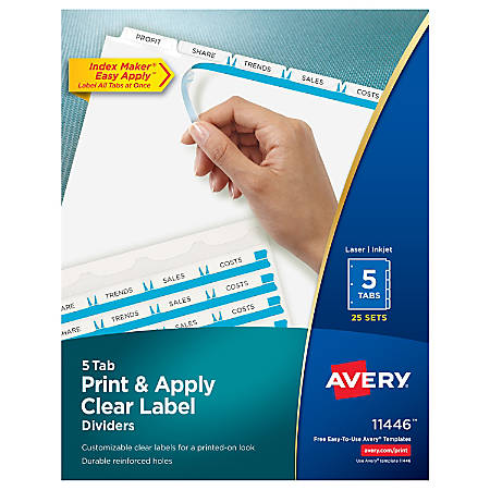 Avery® Print & Apply Clear Label Dividers With Index Maker® Easy Apply™ Printable Label Strip And White Tabs, 5-Tab, Box Of 25 Sets