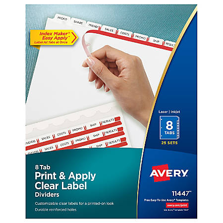 Avery® Print & Apply Clear Label Dividers With Index Maker® Easy Apply™ Printable Label Strip And White Tabs, 8-Tab, Box Of 25 Sets