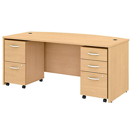 "Bush Business Furniture Studio C Bow-Front Desk With Mobile File Cabinets, 72""W x 36""D, Natural Maple, Premium Installation"