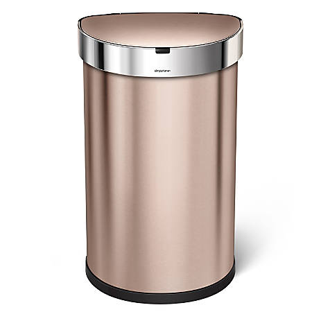 simplehuman Semiround Steel Sensor Trash Can, With Liner Pocket, 12 Gallons, Rose Gold