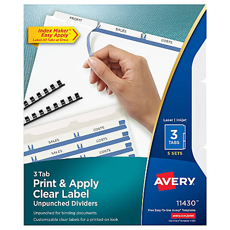 Avery® Print & Apply Clear Label Dividers With Index Maker® Easy Apply™ Printable Label Strip And White Tabs, 3-Tab, Box Of 5 Sets