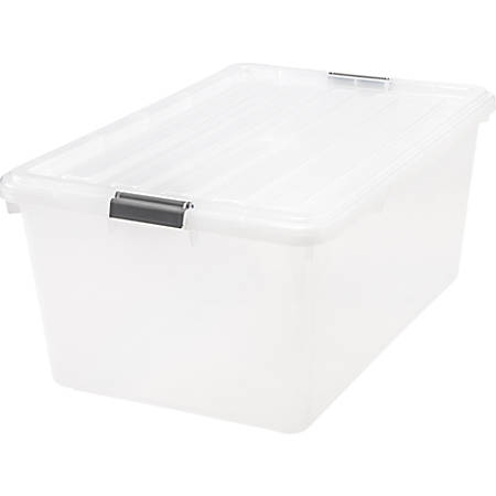 """Iris® Clear Storage Box With Lid, 26 1/10"""" x 17 1/2"""" x 11 1/4"""", Clear, Pack Of 5"""