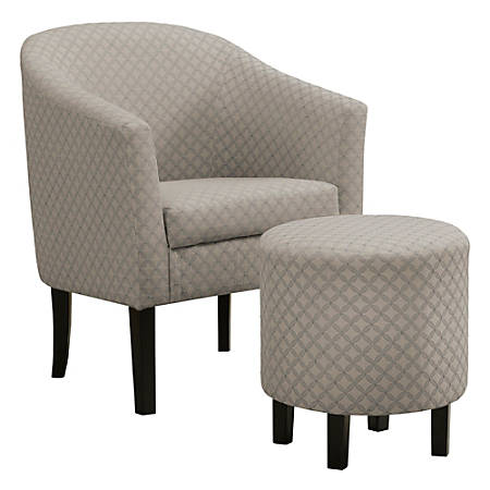 Monarch Specialties Selena Accent Chair With Ottoman, Light Gray