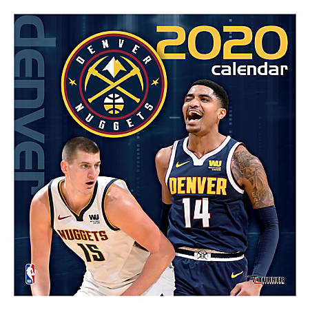 "Turner Licensing Monthly Wall Calendar, 12"" x 12"", Denver Nuggets, 2020"