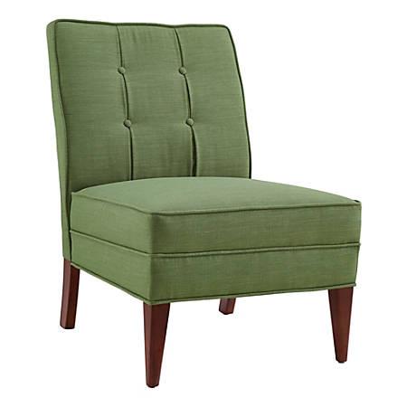 Linon Laurie Slipper Chair, Green/Walnut