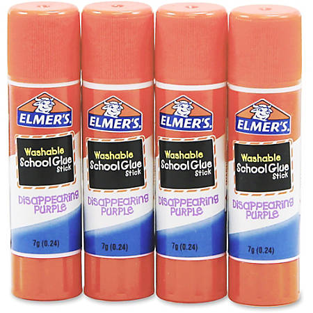 Elmer's® Washable Disappearing Purple School Glue Sticks, 0.24 Oz, Pack Of 4