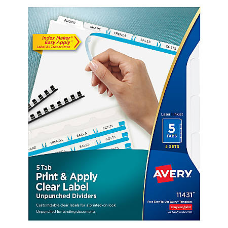 Avery® Print & Apply Clear Label Dividers With Index Maker® Easy Apply™ Printable Label Strip And White Tabs, Unpunched, 5-Tab, Box Of 5 Sets