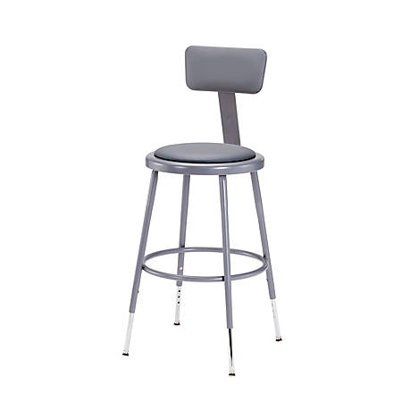 """National Public Seating Adjustable Vinyl-Padded Stools With Backs, 32 - 41""""H, Gray, Set Of 5"""