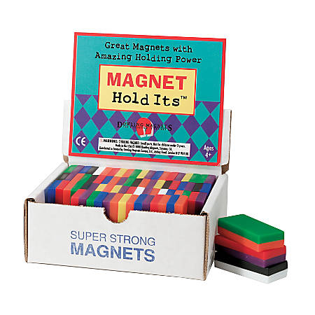 "Dowling Magnets Chunky Magnets, Block, 2""H x 1""W x 1/2""D, Assorted Colors, Box Of 40"