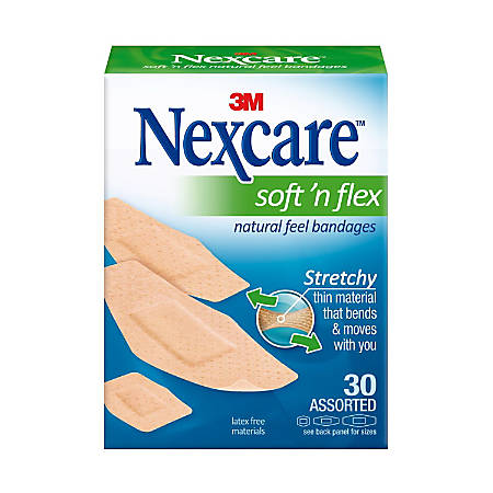 "Nexcare™ Soft 'n Flex Bandages, Assorted - Assorted Sizes - 0.94"" x 1.13"", 1.13"" x 3"", 0.88"" x 2.25"" - 30/Box - 30 Per Box - Tan - Fabric"