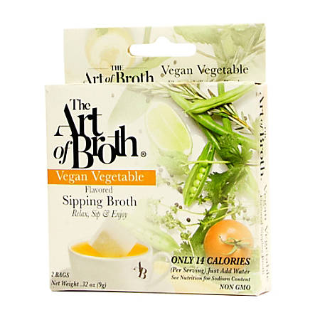 The Art of Broth Vegan Vegetable Flavored Sipping Broth, 2 Bags Per Box, Pack Of 10 Boxes