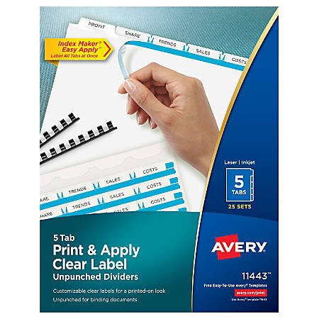 Avery® Print & Apply Clear Label Dividers With Index Maker® Easy Apply™ Printable Label Strip And White Tabs, Unpunched, 5-Tab, Box Of 25 Sets