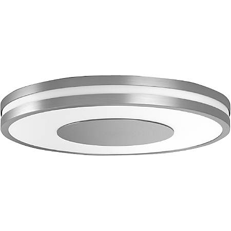 "Philips Connected Luminaires Being Hue Ceiling Light - 2"" Height - 13.7"" Width - 1 x 32 W LED Bulb - 2400 Lumens - Metal - Ceiling Mountable - Cool White, Aluminum - for Bedroom, Living Room"