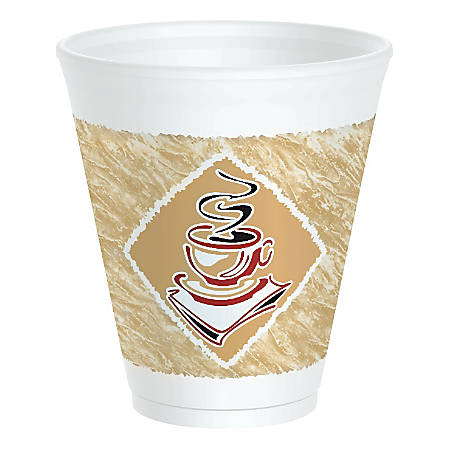 Dart Cafe G Design Foam Cups, 12 Oz, Brown/Red/White, Box Of 1,000