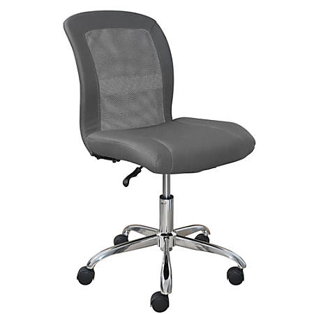 Serta Essentials Faux Leather Mid-Back Computer Chair, Productivity Gray/Chrome
