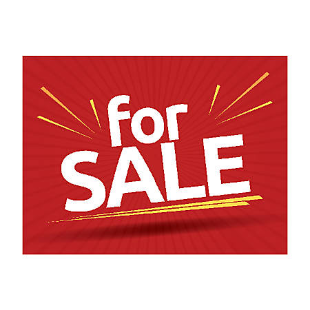 Plastic Sign, Red For Sale, Horizontal