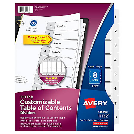 Avery® Ready Index® 20% Recycled Table Of Contents Dividers, 1-8 Tab, Black/White