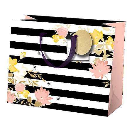 """Lady Jayne Gift Bag With Tissue Paper, Hang Tag, Horizontal, Pink Florals, 10""""H x 8""""W x 4""""D"""