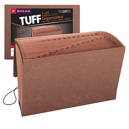 """Smead® TUFF® Expanding File With Flap & Elastic Cord, 31 Pockets, 1-31, 15"""" x 10"""" Legal Size, 30% Recycled, Brown"""