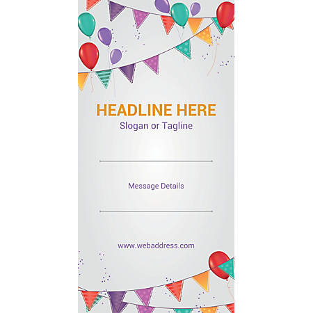 Custom Vertical Banner, Balloons And Bunting