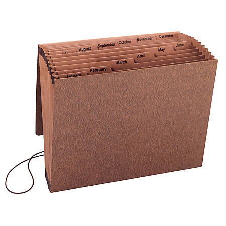 "Smead® TUFF® Expanding File With Flap & Elastic Cord, 12 Pockets, Monthly, 12"" x 10"" Letter Size, 30% Recycled, Brown"