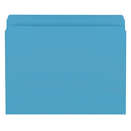 Smead® Color File Folders, With Reinforced Tabs, Letter Size, Straight Cut, Blue, Box Of 100