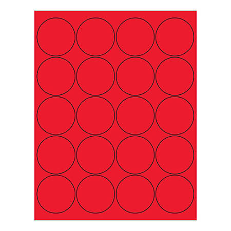 "Office Depot® Brand Circle Inkjet/Laser Labels, LL197RD, 2"", Fluorescent Red, Pack Of 2,000 Labels"