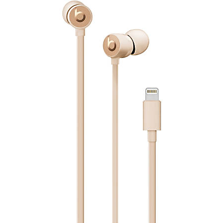 Beats by Dr. Dre urBeats3 Earphones with Lightning Connector - Satin Gold - Stereo - Lightning Connector - Wired - Earbud - Binaural - In-ear - Satin Gold