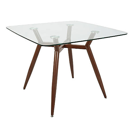 Lumisource Clara Mid-Century Modern Dining Table, Square, Clear/Walnut