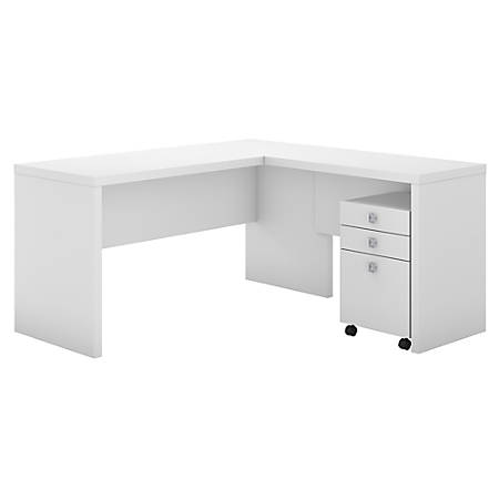 kathy ireland® Office by Bush Business Furniture Echo L Shaped Desk With Mobile File Cabinet, Pure White, Premium Installation