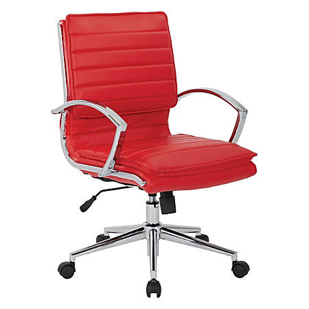 Office Star™ Pro-Line II™ SPX Series Bonded Leather Mid-Back Chair, Red/Chrome