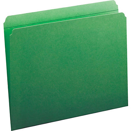 Smead® Color File Folders, With Reinforced Tabs, Letter Size, Straight Cut, Green, Box Of 100