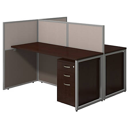 """Bush Business Furniture Easy Office 60""""W 2-Person Straight Desk Open Office With Two 3-Drawer Mobile Pedestals, 44 15/16""""H x 60 1/16""""W x 60 1/16""""D, Mocha Cherry, Standard Delivery"""