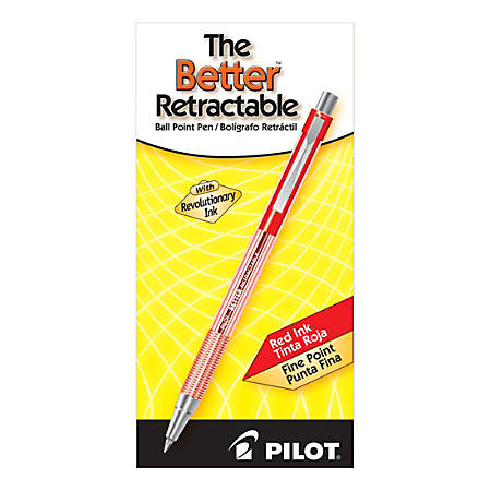 Pilot® Better Retractable Ballpoint Pens, 0.7 mm, Translucent Barrel, Red Ink, Pack Of 12 Pens