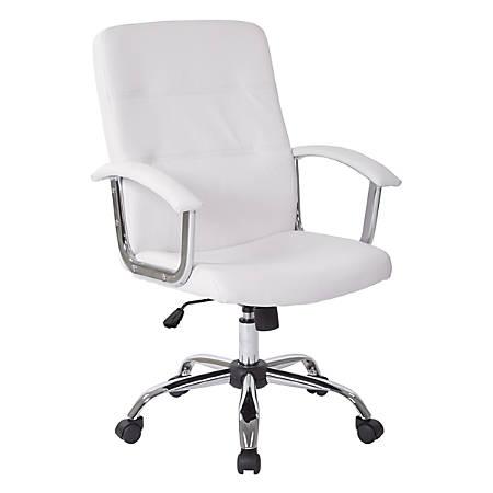 Office Star™ Avenue Six® Malta Vinyl Mid-Back Chair, White/Silver
