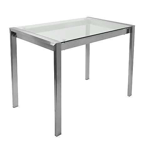 Lumisource Fuji Contemporary Counter Table, Rectangular, Glass/Stainless Steel