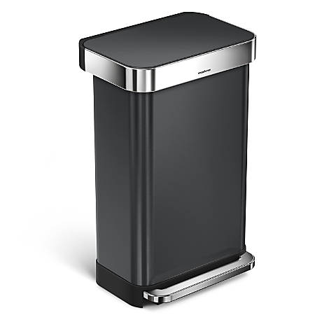 "simplehuman Rectangular Stainless-Steel Step Trash Can With Liner Pocket, 25 13/16""H x 15 15/16""W x 13 5/16""D, 11.89 Gallons, Black"
