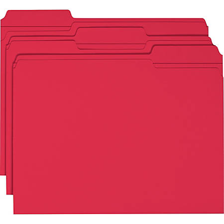 Smead® Color File Folders, With Reinforced Tabs, Letter Size, 1/3 Cut, Red, Box Of 100