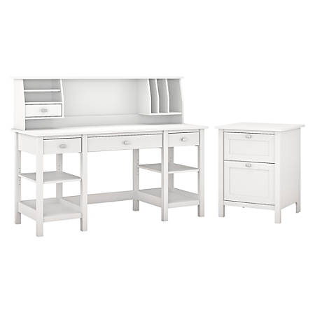 "Bush Furniture Broadview 60""W Desk With Storage Shelves, Small Hutch Organizer And File Cabinet, Pure White, Standard Delivery"