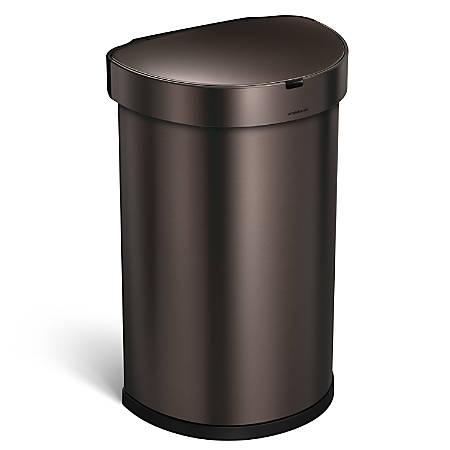 simplehuman Semiround Steel Sensor Trash Can, With Liner Pocket, 12 Gallons, Dark Bronze