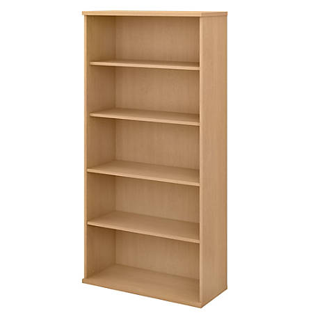 Bush Business Furniture Studio C 5-Shelf Bookcase, Natural Maple, Premium Installation