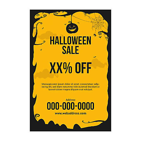 Adhesive Sign Template, Vertical, Black Halloween-Border