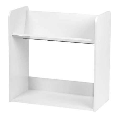"IRIS 24""H 2-Tier Tilted Shelf Book Rack, White"