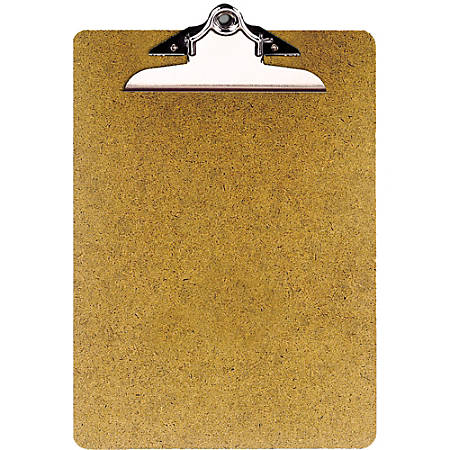 "OIC® 100% Recycled Hardboard Clipboard, Letter Size, 9"" x 12 1/2"", Brown"