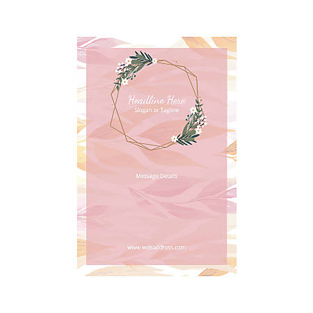 Plastic Sign, Vertical, Pink Leaves And Garland
