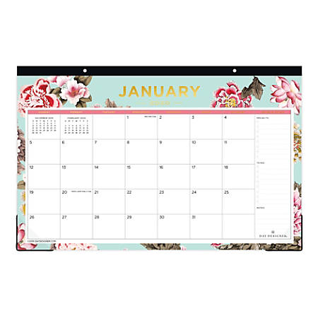 "Day Designer For Blue Sky™ Desk Pad, 17"" x 11"", Grand Bloom, January To December 2020, 116873"